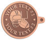 Ace Recognition Copper KeyTag - with your text and logo - ping pong, paddles, table tennis,  exercise, fitness, fun, games, racket, racquet, raquet, recreation, serve, set, sport, sporting