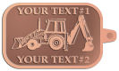 Ace Recognition Copper KeyTag - with your text and logo - front loaders, excavators, back hoes, backhoes, loaders, trenchers, excavators, excavating, equipment, diggers