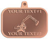 Ace Recognition Copper KeyTag, Medal, Pendant - with your text and logo - diggers, excavators, excavation, excavation equipment, excavation machines, excavation machinery, digger tractors, crawler excavators