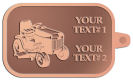 Ace Recognition Copper KeyTag - with your text and logo - lawn tractors, riding mowers, garden tractors, lawn mowers