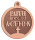 Ace Recognition Copper KeyTag, Medal, Pendant - with your text and logo - motivational, inspirational, faith is action