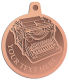 Ace Recognition Copper KeyTag, Medal, Pendant - with your text and logo - typewriters, retro, antique, business, correspondence, editorial,  journalism, underwood, olympia, smith corona, business machines