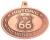 Ace Recognition Copper KeyTag, Medal, Pendant - with your text and logo - Route 66 - US 66 - historic - the mother road, route 66, route sixty six, route sixty-six, historic highway, historic road, mother road, metal
