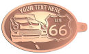 Ace Recognition Copper KeyTag - with your text and logo - Car designs - US route 66 - vintage cars - classic cars - roadster - your text, route 66, route sixty six, route sixty-six, historic highway, historic road, mother road, transportation