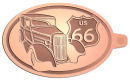 Ace Recognition Copper KeyTag - with your text and logo - Car designs - US route 66 - vintage cars - classic cars - coupe - roadster - your text, route 66, route sixty six, route sixty-six, historic highway, historic road, mother road