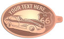 Ace Recognition Copper KeyTag - with your text and logo - Car designs - US route 66 - vintage cars - classic cars - corvette - your text, route 66, route sixty six, route sixty-six, historic highway, historic road, mother road, transportation