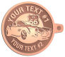 Ace Recognition Copper KeyTag - with your text and logo - Car Designs - US route 66 - classic car - roadster - vintage cars - sports car - your text, transportation, metal