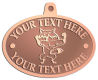 Ace Recognition Copper KeyTag, Medal, Pendant - with your text and logo - Sports, mascots, foxes, high school, college, university