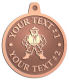 Ace Recognition Copper KeyTag, Medal, Pendant - with your text and logo - Sports, mascots, martial arts, warriors, high school, college, university