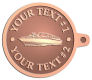 Ace Recognition Copper KeyTag - with your text and logo - boats, recreation, speed boat, motorboat, motor boat, watercraft