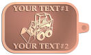 Ace Recognition Copper KeyTag - with your text and logo - bucket front loaders, wheel loaders, machinery , loaders, excavators, bulldozers