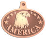 Ace Recognition Copper KeyTag, Medal, Pendant - with your text and logo - eagles, bird of prey, patriotic, inspirational, strength, symbol, democracy, United States, USA, bald eagle, navy