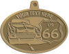 Ace Recognition Gold KeyTag, Medal, Pendant - with your text and logo - Car designs - US route 66 - vintage cars - classic cars - roadster - your text, route 66, route sixty six, route sixty-six, historic highway, historic road, mother road, transportation