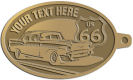 Ace Recognition Gold KeyTag - with your text and logo - Car designs - US route 66 - vintage cars - classic cars - coupe - roadster - your text, route 66, route sixty six, route sixty-six, historic highway, historic road, mother road