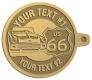 Ace Recognition Gold KeyTag - with your text and logo - Car Designs - US route 66 - classic car - roadster - vintage car - your text, route 66, route sixty six, route sixty-six, historic highway, historic road, mother road, transportation