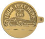 Ace Recognition Gold KeyTag - with your text and logo - Car Designs - US route 66 - classic car - roadster - vintage cars - corvette - your text, transportation, metal