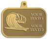 Ace Recognition Gold KeyTag, Medal, Pendant - with your text and logo - waves, surfboard, surfing, surfers, surf, tropical, tropics, water, wind, boarding, dynamic, energy, sea, speed, splash, sport