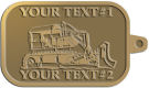 Ace Recognition Gold KeyTag - with your text and logo - bulldozer, constructions, dozer, earth, equipment, heavy, machine, mover, soil, tracks
