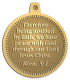 Ace Recognition Gold KeyTag, Medal, Pendant - with your text and logo - Christian Designs - Therefore being justified by faith, we have peace with God through our Lord Jesus Christ.  Romans 5:1  religious, metal
