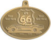 Ace Recognition Gold KeyTag, Medal, Pendant - with your text and logo - Car designs - US route 66 - corvette - vintage cars - sports car - your text, route 66, route sixty six, route sixty-six, historic highway, historic road, mother road, transportation