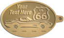Ace Recognition Gold KeyTag - with your text and logo - Car designs - US route 66 - vintage cars - corvette - sports car - your text, route 66, route sixty six, route sixty-six, historic highway, historic road, mother road, transportation