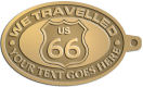 Ace Recognition Gold KeyTag - with your text and logo - Route 66 - US 66 - your text - we travelled, route 66, route sixty six, route sixty-six, historic highway, historic road, mother road, metal