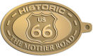 Ace Recognition Gold KeyTag - with your text and logo - Route 66 - US 66 - historic - the mother road, route 66, route sixty six, route sixty-six, historic highway, historic road, mother road, metal