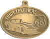 Ace Recognition Gold KeyTag, Medal, Pendant - with your text and logo - Car designs - US route 66 - vintage cars - classic cars - corvette - sports car - your text, route 66, route sixty six, route sixty-six, historic highway, historic road, mother road, transportation