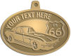 Ace Recognition Gold KeyTag, Medal, Pendant - with your text and logo - Car designs - US route 66 - vintage cars - corvette - classic cars - sports car - your text, route 66, route sixty six, route sixty-six, historic highway, historic road, mother road