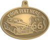 Ace Recognition Gold KeyTag, Medal, Pendant - with your text and logo - Car designs - US route 66 - vintage cars - classic cars - sports car - hot rod - your text, route 66, route sixty six, route sixty-six, historic highway, historic road, mother road