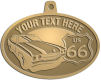 Ace Recognition Gold KeyTag, Medal, Pendant - with your text and logo - Car designs - US route 66 - vintage cars - classic cars - corvette - your text, route 66, route sixty six, route sixty-six, historic highway, historic road, mother road, transportation