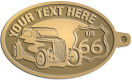 Ace Recognition Gold KeyTag - with your text and logo - Car designs - US route 66 - vintage cars - classic cars - roadster - your text, route 66, route sixty six, route sixty-six, historic highway, historic road, mother road, transportation