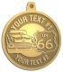 Ace Recognition Gold KeyTag, Medal, Pendant - with your text and logo - Car Designs - US route 66 - classic car - roadster - vintage car - your text, route 66, route sixty six, route sixty-six, historic highway, historic road, mother road, transportation