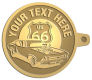 Ace Recognition Gold KeyTag - with your text and logo - Car Designs - US route 66 - classic car - hot rod - sports car - vintage car - your text, route 66, route sixty six, route sixty-six, historic highway, historic road, mother road