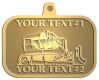Ace Recognition Gold KeyTag, Medal, Pendant - with your text and logo - bulldozer, constructions, dozer, earth, equipment, heavy, machine, mover, soil, tracks