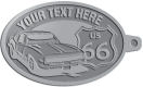 Ace Recognition Pewter KeyTag - with your text and logo - Car designs - US route 66 - vintage cars - sports car - your text, route 66, route sixty six, route sixty-six, historic highway, historic road, mother road, transportation, metal