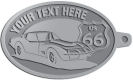 Ace Recognition Pewter KeyTag - with your text and logo - Car designs - US route 66 - vintage cars - classic cars - corvette - sports car - your text, route 66, route sixty six, route sixty-six, historic highway, historic road, mother road, transportation