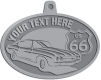 Ace Recognition Pewter KeyTag, Medal, Pendant - with your text and logo - Car designs - US route 66 - vintage cars - classic cars - sports car - your text, route 66, route sixty six, route sixty-six, historic highway, historic road, mother road, metal