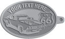 Ace Recognition Pewter KeyTag - with your text and logo - Car designs - US route 66 - vintage cars - classic cars - sports car - hot rod - your text, route 66, route sixty six, route sixty-six, historic highway, historic road, mother road