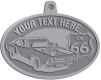Ace Recognition Pewter KeyTag, Medal, Pendant - with your text and logo - Car designs - US route 66 - vintage cars - classic cars - sports car - hot rod - your text, route 66, route sixty six, route sixty-six, historic highway, historic road, mother road