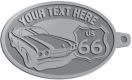 Ace Recognition Pewter KeyTag - with your text and logo - Car designs - US route 66 - vintage cars - classic cars - corvette - your text, route 66, route sixty six, route sixty-six, historic highway, historic road, mother road, transportation