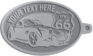 Ace Recognition Pewter KeyTag - with your text and logo - Car designs - US route 66 - vintage cars - classic cars - convertible - sports car - your text, route 66, route sixty six, route sixty-six, historic highway, historic road, mother road