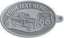 Ace Recognition Pewter KeyTag - with your text and logo - Car designs - US route 66 - vintage cars - classic cars - roadster - your text, route 66, route sixty six, route sixty-six, historic highway, historic road, mother road, transportation