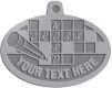 Ace Recognition Pewter KeyTag, Medal, Pendant - with your text and logo - crossword puzzles, recreation, challenge, brainstorming, word puzzles, ability, activity, brainteasers, clues, newspapers, vocabulary, quiz, spelling, competition, contemplation, mental