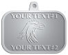 Ace Recognition Pewter KeyTag, Medal, Pendant - with your text and logo - Tribal, tattoos, birds, eagles, hawks, ospreys, birds of prey, predators