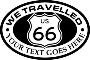 Custom pewter or zinc Crest - customized and personalized your way - Route 66 - US 66 - your text - we travelled, route 66, route sixty six, route sixty-six, historic highway, historic road, mother road, metal