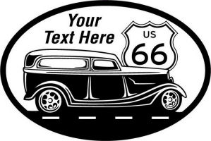 Custom pewter or zinc Crest - customized and personalized your way - Car designs - US route 66 - vintage cars - classic cars - roadster - your text, route 66, route sixty six, route sixty-six, historic highway, historic road, mother road, transportation