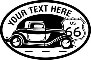 Custom pewter or zinc Crest - customized and personalized your way - Car designs - US route 66 - vintage cars - classic cars - truck - pickup - your text, route 66, route sixty six, route sixty-six, historic highway, historic road, mother road, transportation
