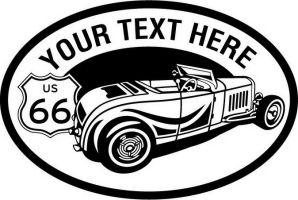 Custom pewter or zinc Crest - customized and personalized your way - Car designs - US route 66 - vintage cars - classic cars - convertible - sports car - your text, route 66, route sixty six, route sixty-six, historic highway, historic road, mother road