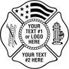 Fire Fighter, Maltese Cross  Ladder, USA Flag, Fire Hydrant
